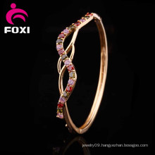 Copper Material Zircon Jewelry 18k Gold Plated Bangles