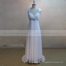 Cap Sleeve Outdoor Beach Chiffon Bohemian Wedding Dress With Beads Belt