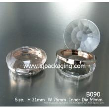Diamante simple polvo compacto caso caja de polvo redondo plástico cosmético contenedor de polvo contenedor de sombra