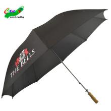 Maßgeschneiderte Werbelogodrucke mit Marken-Flachholzgriff Regensonne schwarze Regenschirme, wasserdichter großer sonniger Sonnenschirm
