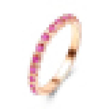 Anel de Prata Esterlina 925 Rosa Anel de Diamante Vermelho Ouro Corindo