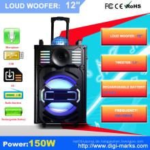 Tragbare Stereo-Bluetooth-PA-Lautsprecher im Freien mit LED