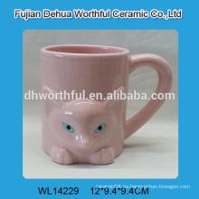 Taza de agua de cerámica linda zorro rosa con mango
