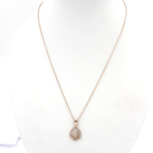 Rose Gold Chain Water Drop Charms Jewelry Necklace