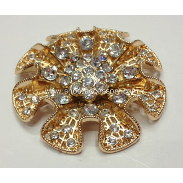 5.8cm Metal Flowers Shoe Buckle with Rhinestone