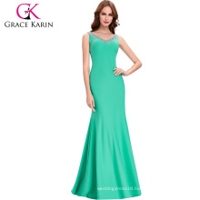 Grace Karin Sexy Sleeveless Medium Aquamarine Floor Length Back Open Prom Dress CL6061-6#