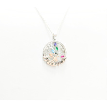 Tree of Life Fashion Gemstone Pair Color 925 Sterling Silver Necklace Pendant