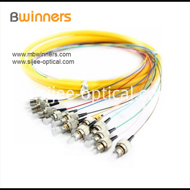 Single Mode 12 Core Fcupc Ribbon Optic Cable Pigtail