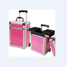 Aluminium rosa Kosmetik Trolley Case (hx-L0924)