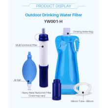 Filtro pessoal de água para emergência em viagens de acampamento em caminhadas