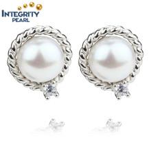 AAA 9mm Botón Blanco Botón de agua dulce Nuevo Pearl Earrings