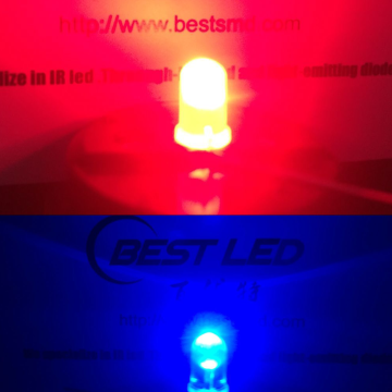 Alta brillante 5 mm de doble color LED rojo azul