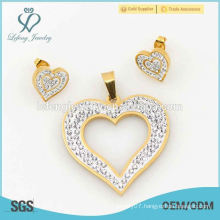 Heart jewelry sets with double crystal, perfect design 316l stainless steel jewelry sets