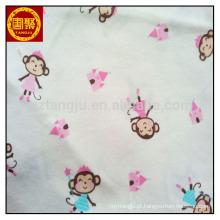 Pano de bebê usado 100% tecido de algodão, tecido jersey único, tecido de bloqueio