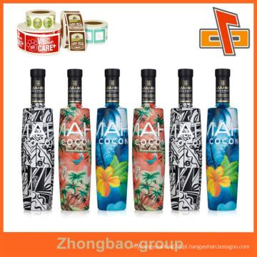 O fornecedor de China do material de embalagem personaliza o plástico termelétrico sensível impermeável do plástico encolhe etiquetas do frasco do envoltório com seu projeto