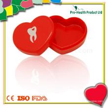 Mini caixa de armazenamento de dentadura transparente para dentes decíduos