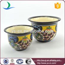 YSfp0009 Juego de 2 florero de cerámica hecha a mano con forma redonda