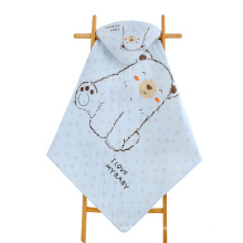 china coton cotton blue bear baby stuffed animal hoodie baby swadle crib blanket blankets with hood for summer