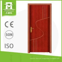 Muy diseño de moda de buena calidad pvc interior sola puerta de madera hecha en china