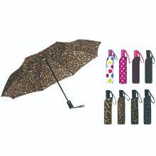 3 Fold Auto Open with Stripe Printing Rain Umbrella
