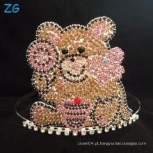 Coroa bonito do urso de peluche, Tiara feita sob encomenda para meninas
