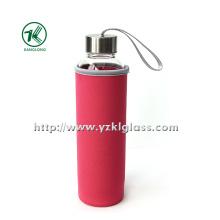 Стеклянная бутылка с крышкой из нержавеющей стали с наружным покрытием из неопрена,