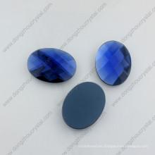Granos de cristal ovales azules Capri decorativos de la fábrica de la parte posterior de China
