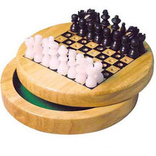 Wooden Chess Set Board Game Foldable Portable Travel Kids Fun