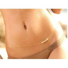 Womens Fashion Gold Body Belly Cute Pearls Waist Chain Necklace Bikini Beach Harness