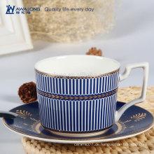 Blue Stripe Royal Design Hochwertige Porzellan Bone China Tee Kaffeetasse und Untertasse Set