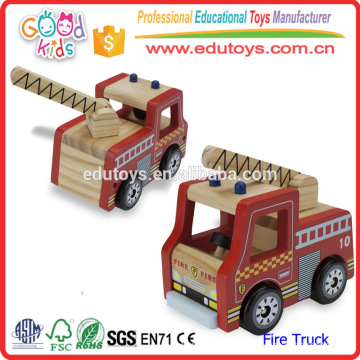 2016 Lovely Cartoon Fire Truck Toy pour enfant, Red Color Mini Wooden Fire Truck Toy pour enfants, Crafted Mini Fire Truck Toy