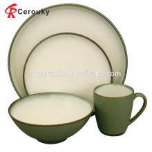 Набор посуды из чистого белого и зеленого керамогранита