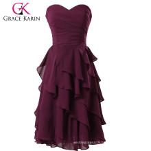 Grace Karin Ladies Strapless Knee Length Chiffon Short Grape Evening Dress CL3439