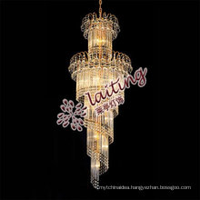hotel project crystal stair chandelier lighting made in china