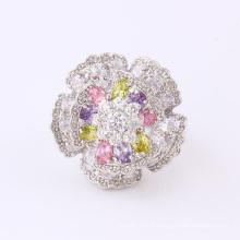 11826 Mode De Luxe CZ Diamant Grande Fleur Argent Plaqué Bijoux Bague pour le Mariage