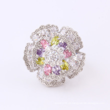 11826 Moda de Luxo CZ Diamante Grande Flor de Prata-Banhado A Jóia do Anel de Dedo para o Casamento