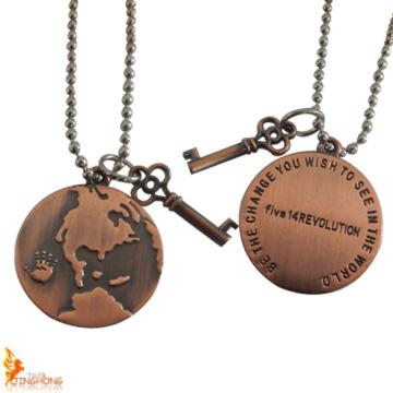 Presente promocional Colar de cobre fosco personalizado revestido para vestuário