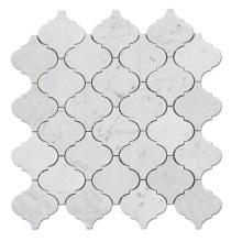 Arabesque Shape Watetjet Lantern Carrara Mosaic White Marble Lantern Mosaic