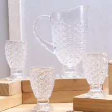 Funney Scales Pattern Embossed Glass Pitcher And Cup