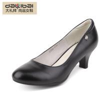 genuine leather fashion women low heel ladies winter black dress shoes
