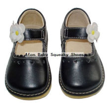 Schwarze Babyschuhe mit weißen Blumen-Kleinkind-Schuhen 0-24months
