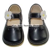 Chaussures noires avec chaussures enfants en fleurs blanches 0 à 24 mois