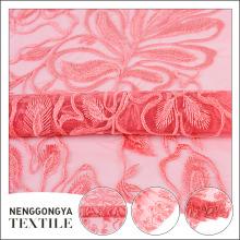 Nouvelle conception de mariage robe dubai rose broderie dentelle tissu