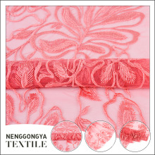 New design wedding dress dubai pink embroidery lace fabric