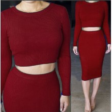 Fashion knitted Sexy Round Collar Neck Two Piece Bodycon Dress