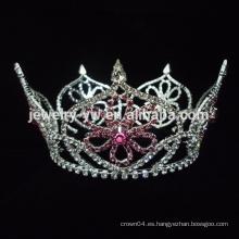 Manufactory de color rojo AB diamante de imitación boda tiara corona