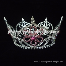 Manufactory colorido vermelho AB rhinestone casamento tiara coroa