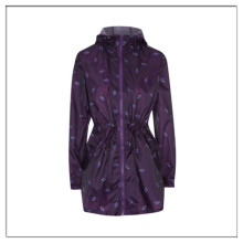 Stylish water-resist print packable parka for women