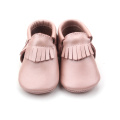 OEM Glitter Pink Fancy Baby Girl Mocasines de cuero