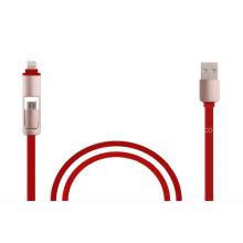 Hot-Sale Flat 2 en 1 cable USB Cable de sincronización rápida y cable de carga rápida para iOS, Android